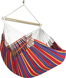 Jumbo Colombian Hammock Chair Lounger - 55 inch - Natural Cotton Cloth (Red and Blue Stripe)