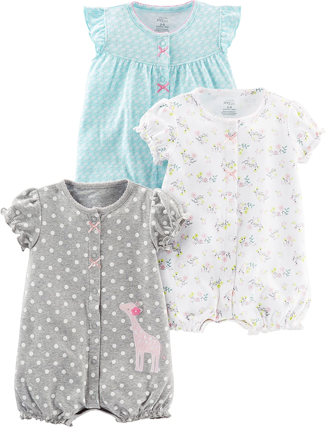Simple Joys by Carter's Girls' 3-Pack Snap-up Rompers