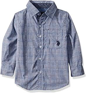 U.S. Polo Assn. Boys Long Sleeve Textured Woven Shirt Long Sleeve Button Down Shirt