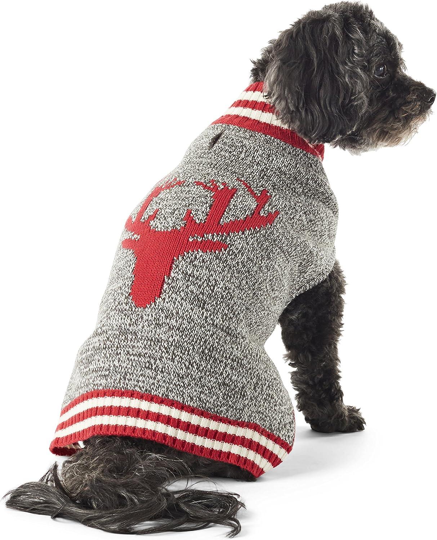 Hotel Doggy Reindeer Mock Neck Dog Sweater   Cranberry Red Dog Clothing XL