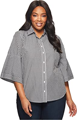 Plus Size Gingham Bell-Sleeve Shirt
