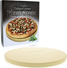 "Pizza Stone for Grill and Oven - 15 Inch 3/4"" Extra Thick - Cooking & Baking Stone for Oven and BBQ Grill - With Durable F..."