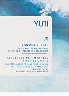 YUNI Beauty Shower Sheets, Large Individually Wrapped Cleansing Body Wipes