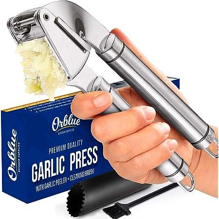 ORBLUE Garlic Press [Premium], Stainless Steel Mincer, Crusher & Peeler Set - Professional Grade, Easy Clean, Dishwasher Safe & Rust-proof