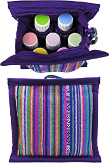 SMALL ESSENTIAL OIL Carrying Case for Purse | Oil Organizer Travel Bag | Essential Oils Roller Bottles Case | Young Living & doTERRA Bottle Carry Cases | Aromatherapy Storage Accessories (Purple)