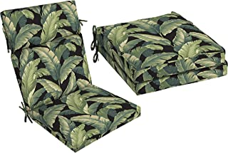 A.T. Products Corp. Arden Selections 1-Piece Onyx Cebu 44 x 21 in. Outdoor Dining Chair Cushion Bundle with Arden Selections 2-Piece Onyx Cebu Outdoor 21 x 21 in. Welted Dining Seat Cushion