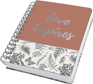 SIGEL JN605 Carnet de notes à spirale premium, 16,2 x 21,5 cm, pointillé, couverture rigide, motif feuilles, noir/beige/ma...