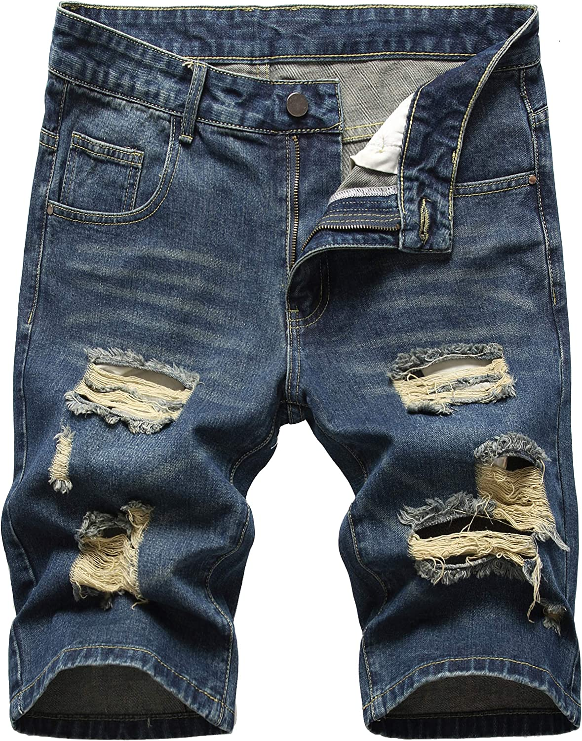 Men's Ripped Denim Shorts Classic Denver Mall Jean Relaxed Five Pocket Free shipping New Fit
