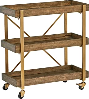 Rivet 3-Tiered Rustic Metallic Rolling Wood and Metal Bar Cart, 29.9