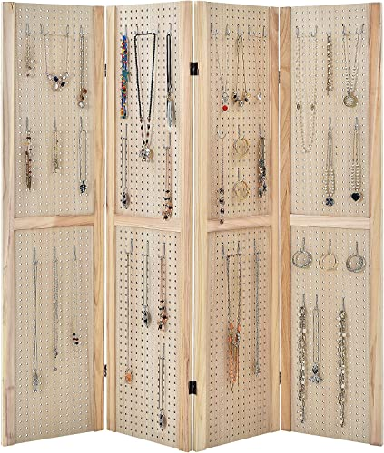 new arrival Giantex online sale 4 Panel 5 Ft Pegboard Display, Folding Privacy Screen, Freestanding Panel Wooden Room Divider, Portable Jewelry Display Board popular for Craft Show, Retail, Cloth, Art Display Panels online