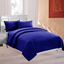 Cotton Bliss 210 TC Satin Stripes 100% Cotton Double Bedsheet King Size with 2 Pillow Covers (Royal Blue)