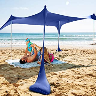 SUN NINJA Pop Up Beach Tent Sun Shelter UPF50+ with Sand Shovel, Ground Pegs,and Stability Poles, Outdoor Shade for Campin...