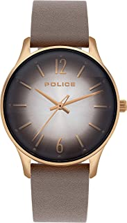 Police Makati Analogue Rose Gold Case, Grey Dial And Grey Leather Watch For Women - PL 15574MSR-79