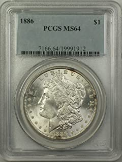 1886 Morgan Silver Dollar Coin (ABR5-I) $1 MS-64 PCGS