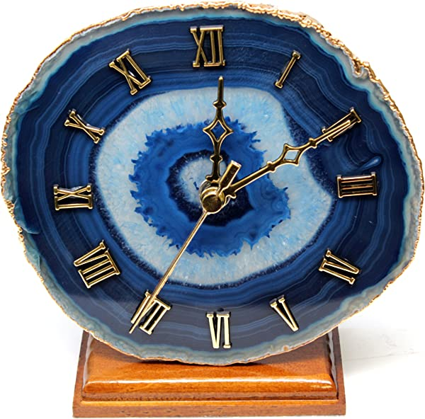 The Royal Gift Shop Decorative Agate Desk Clock With Gold Plated Rim Blue