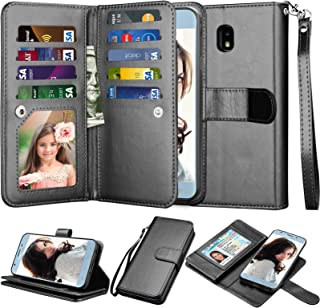 Njjex Wallet Case For Galaxy J3 2018/Eclipse 2/J3 Orbit/J3 Achieve/Express Prime 3/Amp Prime 3/J3 Aura/Sol 3/J3 V 3rd/J3 Star, PU Leather Card Slots Holder Flip Cover Case For Samsung J3 Orbit [Black]