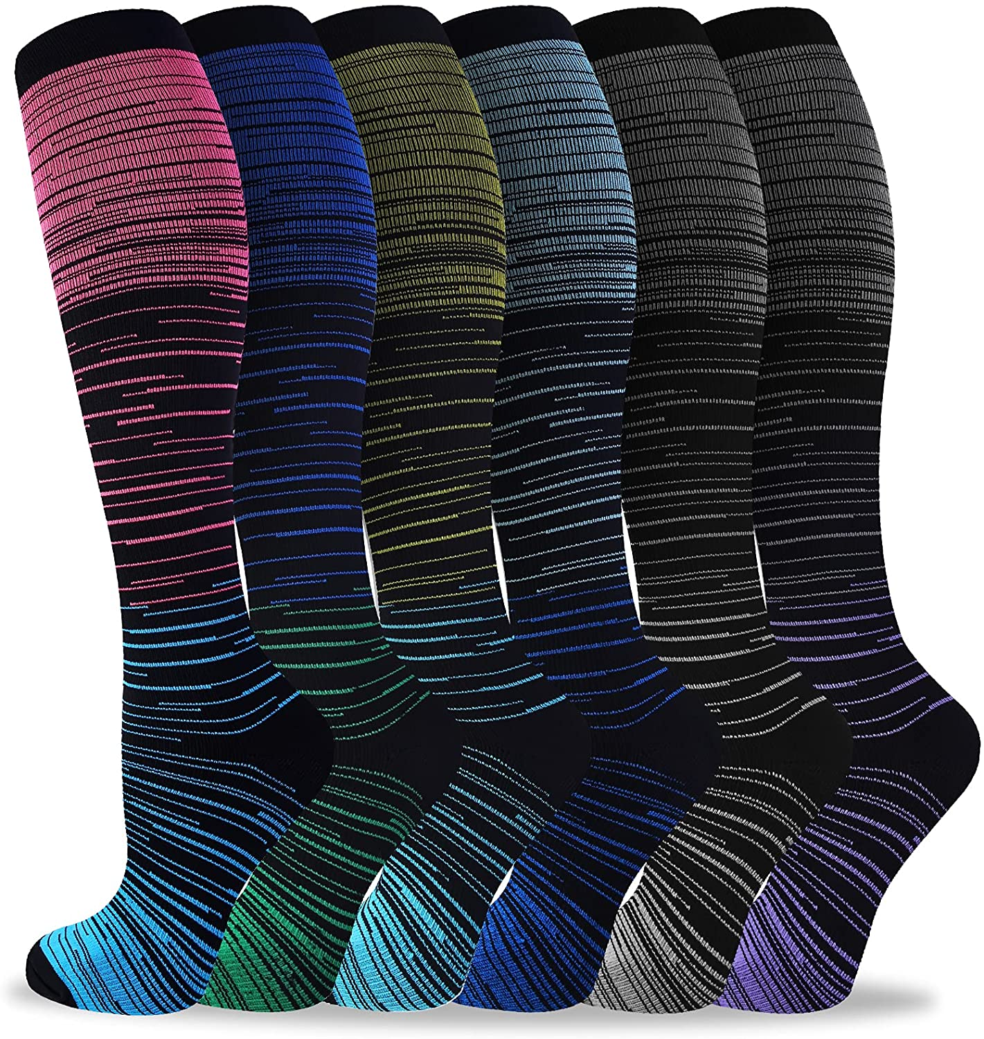 Bropite 6 Pairs Compression Socks Medi 20-30mmhg Men Don't miss the campaign Women Special Campaign for