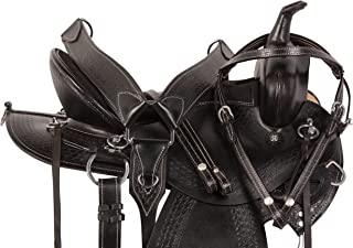 AceRugs 15 16 17 18 Black Arabian Tree Hand Tooled Premium Cowhide Leather Western Pleasure Trail Barrel Racing Horse Saddle TACK Bridle REINS Breast Collar