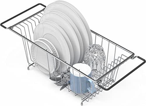 2021 Simple Houseware Over Sink Counter discount Top Dish Drainer outlet online sale Drying Rack, Chrome outlet sale
