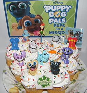 Disney Puppy Dog Pals Deluxe Cake Toppers Cupcake Decorations Set of 14 with Figures, 2 Skateboards, PAW Tattoo and Pals Sticker Featuring ARF, Bingo, Rolly and Friends.
