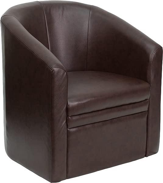 闪光家具棕色皮革桶形客椅