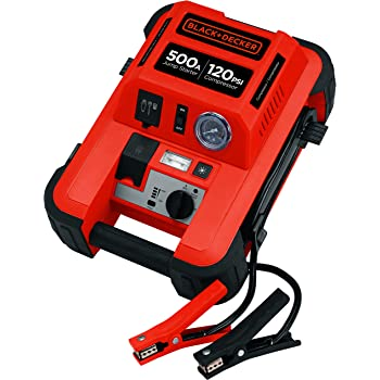 BLACK+DECKER JUS500IB Jump Starter: 1000 Peak/500 Instant Amps, 120 PSI Air Compressor