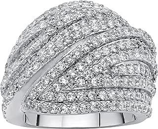 Palm Beach Jewelry Platinum Plated Round Cubic Zirconia Multi Row Dome Ring