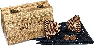 Fazzoletto da Taschino Blu marino Venduto in Confezione regalo in Legno Papillon Legno Uomo SHIPITNOW Papillon e Gemelli in Legno scuro