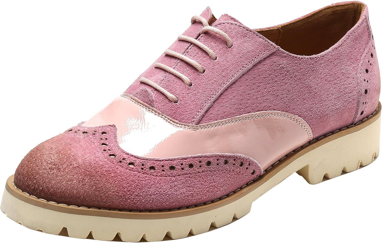 Ulite kvinnor Classic Perforöd mocka läder Lace Lace Lace -up Low Heel Oxfords, Comfortable Casual gående Oxfords  köpa rabatter