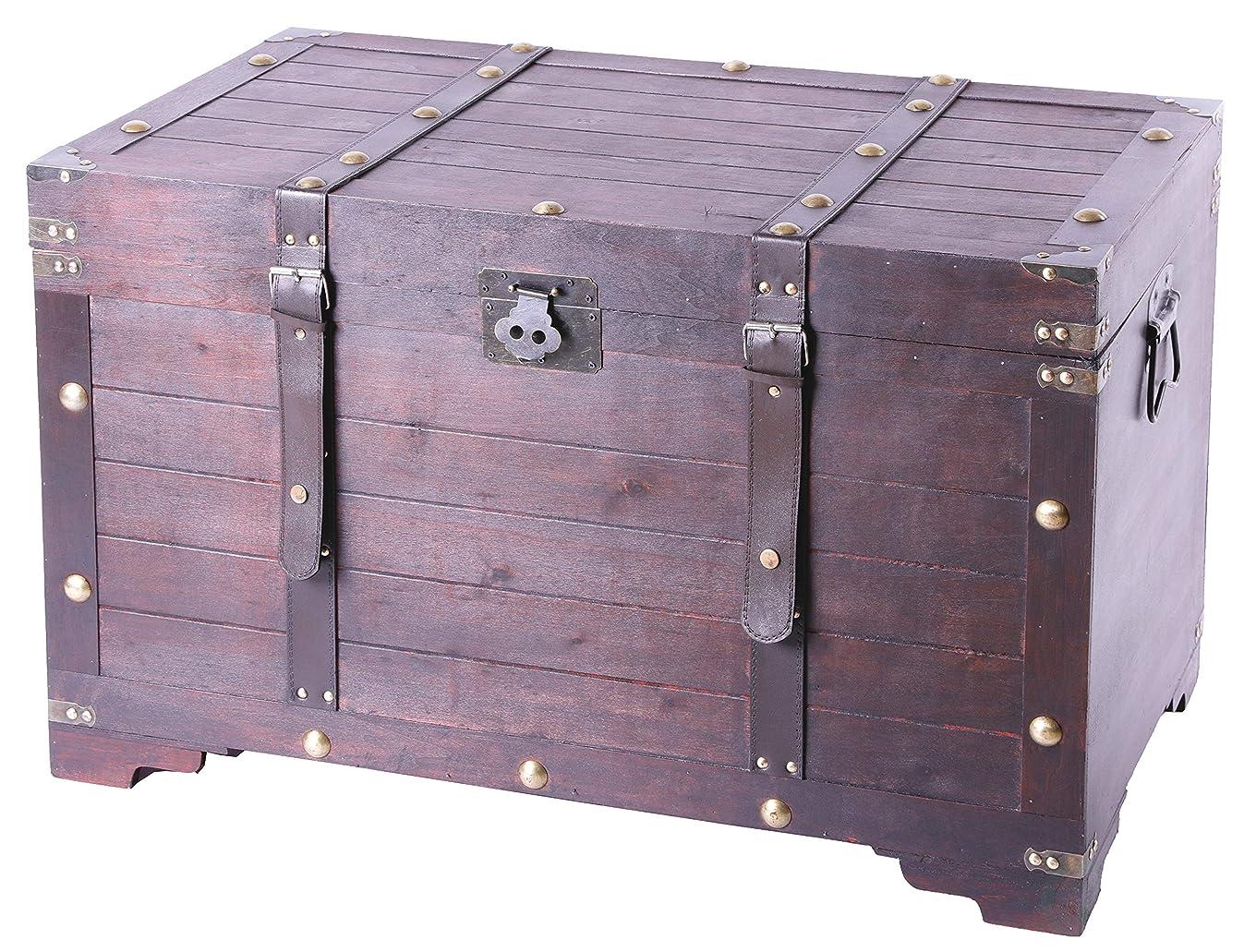 Vintiquewise QI003269L Antique Cherry Large Wooden Storage Trunk