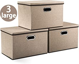 Prandom Large Foldable Storage Boxes with Lids [3-Pack] Jute Fabric Collapsible Storage Bins Organizer Containers Baskets Cube with Cover for Home Bedroom Closet Office Nursery (17.7x11.8x11.8)