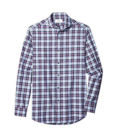 Buttoned Down Classic Fit Supima Cotton Cutaway-Collar Dress Casual Shirt (Large Navy/Berry Check) Men