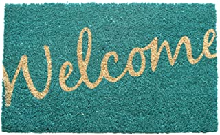 "Entryways Cursive Welcome Non- Slip Coconut Fiber Doormat 17"" x 28"" x .5 "", Blue, Small, (Model: P1044)"