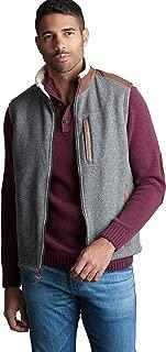 Overland Sheepskin Co Holden Italian Wool-Blend Fleece Vest with Leather Trim