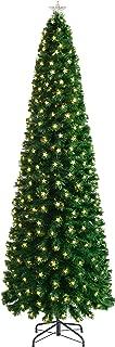 WeRChristmas Fibre Optic Pencil Christmas Tree with Chasing Warm LED Stars, Multi-Colour, 7 feet/2.1m