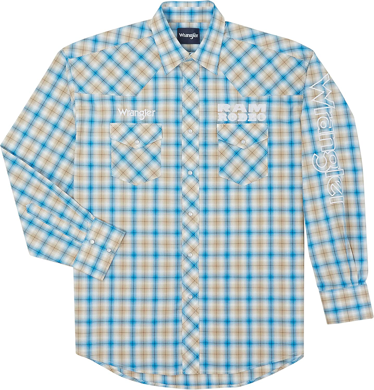 Wrangler Men's Big and Tall Blue Plaid Logo Long Sleeve Western Shirt - MP1328M