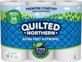 Quilted Northern Ultra Soft & Strong Toilet Paper, 9 Mega Rolls, 328 2-Ply Sheets Per Roll