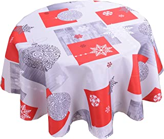 Biscaynebay Printed Christmas Fabric Table Cloths, Water Resistant Spill Proof Tablecloths for Dining, Kitchen, Wedding and Parties (Bougles Grey, 60