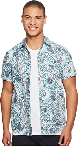 Mongos Short Sleeve Printed Woven Top