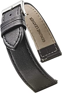 Alpine Flat Stitched Genuine Leather Watch Strap with Quick Release Spring Bars - Black, Brown, Burgundy, red, Pink, Blue,...