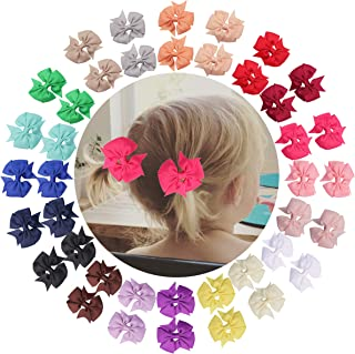 40Piece 2.5Inch Pinwheel Pigtail Bows Clips Hair Bows For Girls Toddler Hair Accessories For Toddlers Kids Baby Girls