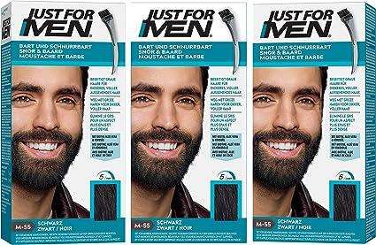 JUST FOR Men - Gel para barba y bigote, color negro (28,4 g cada uno)