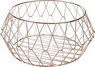 MyGift Rose-Gold Geometric Metal Wire Storage Basket