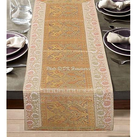 DK Homewares Traditionnel Blanc Brocart Nappe De Table 60 X 16 Pouces Décor De Table Jacquard Satin 5 Ft Chemin De Table (40 X 150 Cm/Or Blanc)
