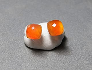 7mm Faceted Cushion Carnelian Gemstone and Sterling Silver Post Earrings