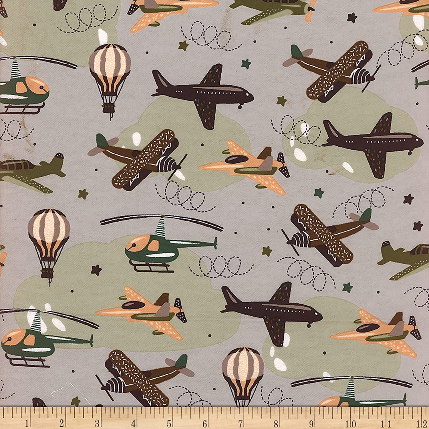 Direct stock discount Flannel Multi Airplanes 2021 new Green Fabric the by Yard