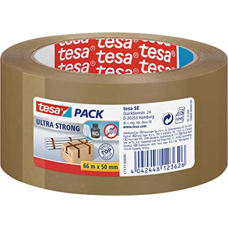 tesa - Ultra Strong - Ruban Adhésif d'Emballage en PVC Solide et Sécurisé - Marron - 66 m x 50 mm