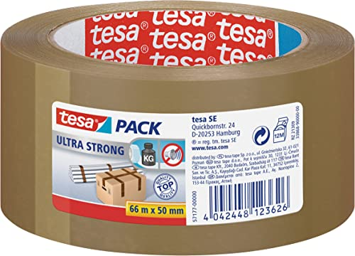 tesapack Ultra Strong - Ruban Adhésif d'Emballage en PVC Solide et Sécurisé - Marron - 66 m x 50 mm