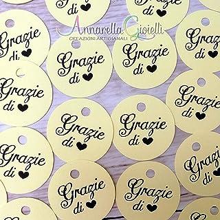 50 pezzi, Cartellini Stampati rotondi per bomboniera, 3 centimetri, grazie, etichette, nascita, battesimo, cresima, comuni...