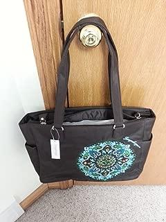 Longaberger Sisters Adorn Large Brown Teal Blue Tote Bag Purse New Genuine Sturdy